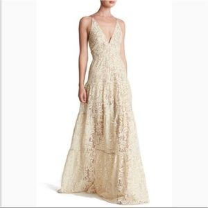 Dress the Population Melina Ivory Lace Maxi Gown M
